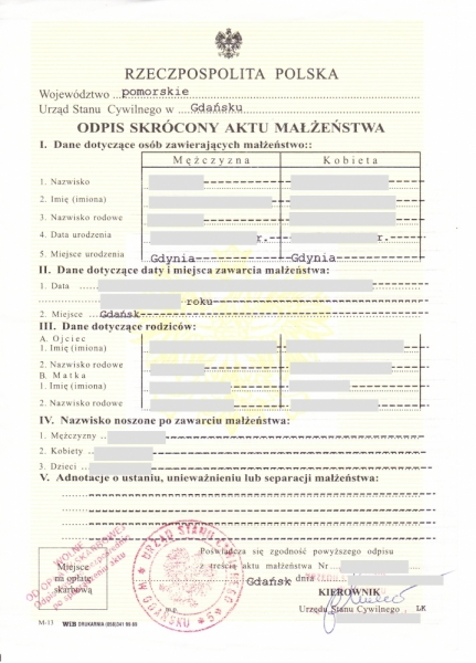 Polish marriage certificate