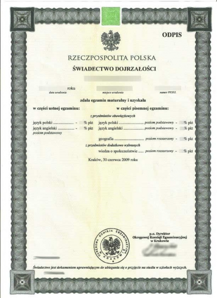 Polish school certificate