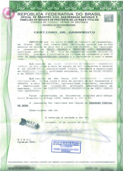 Brazilian marriage certificate