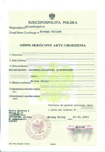 odpis polskiego aktu urodzenia