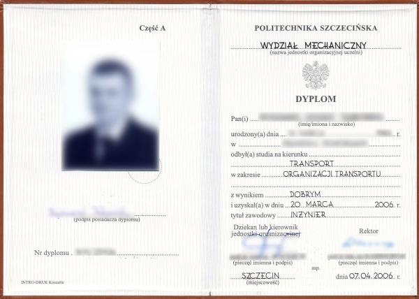 Polski dyplom ukończenia studiów inżynierskich