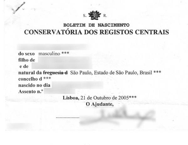 Odpis portugalskiego aktu urodzenia
