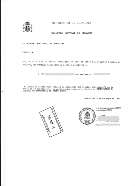 Certificado de registro criminal espanhol