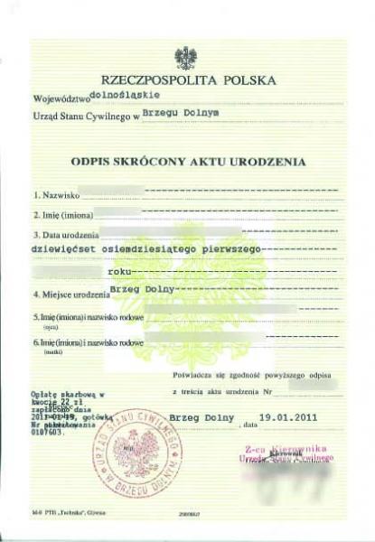 Certidão de nascimento polonesa