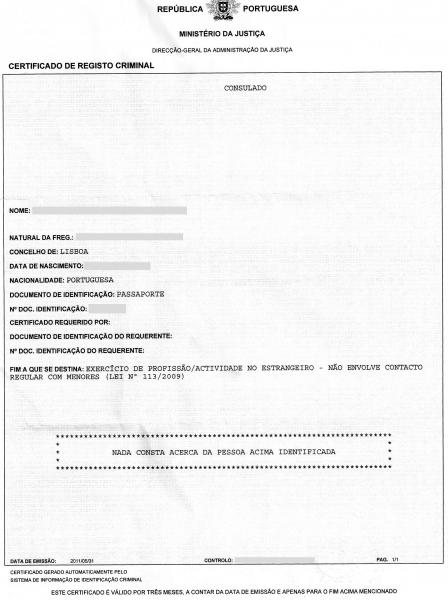 Certificado de registro criminal português