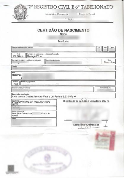Certidão de nascimento brasileira