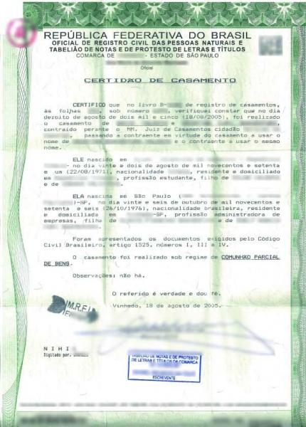Certidão de casamento brasileira